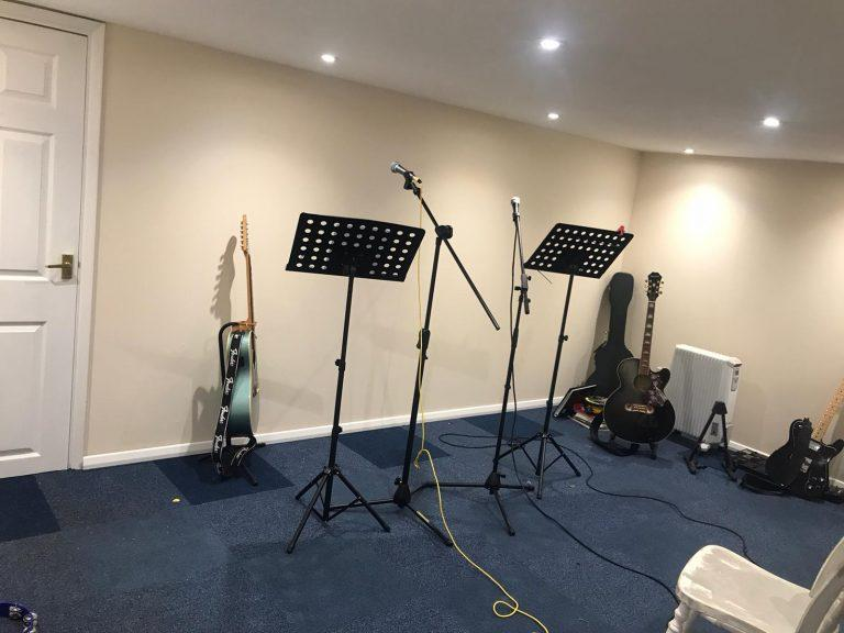 Garage conversion for music room in Brentwood